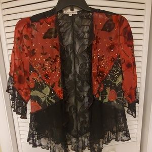 Spencer Alexis lace and velvet look jacket